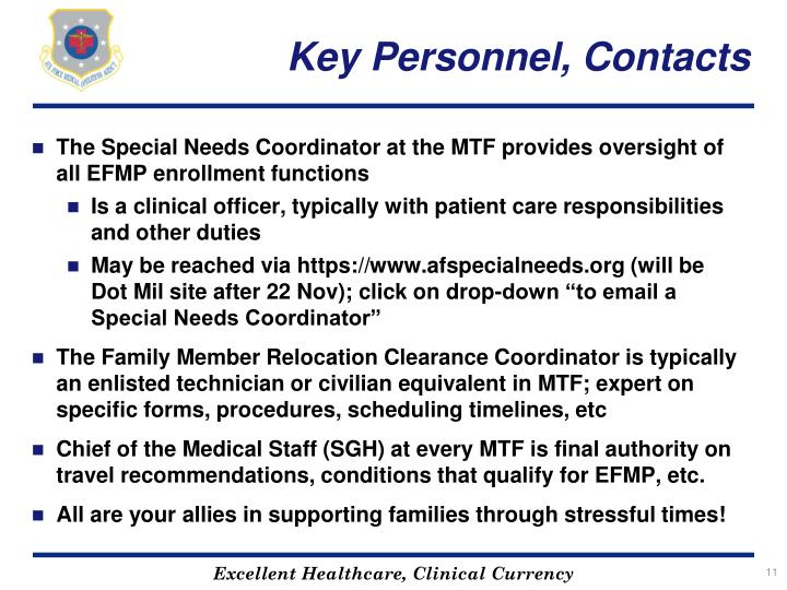 Key Personnel, Contacts