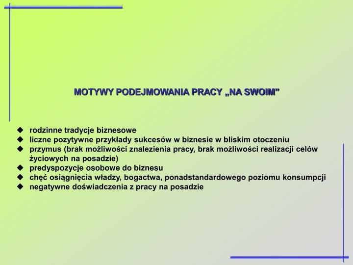 """MOTYWY PODEJMOWANIA PRACY """"NA SWOIM"""""""