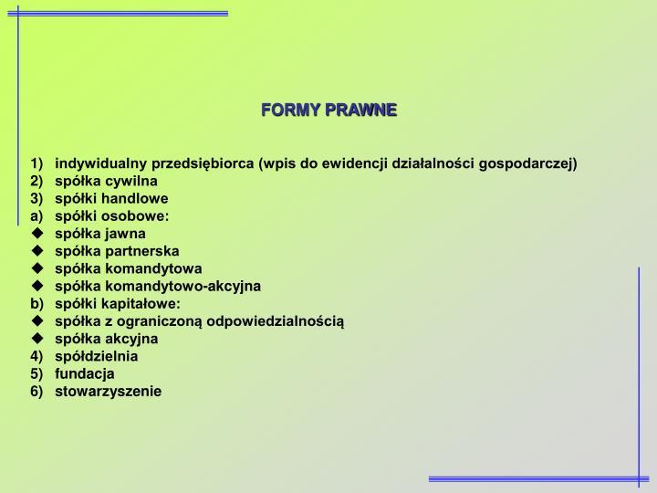 FORMY PRAWNE