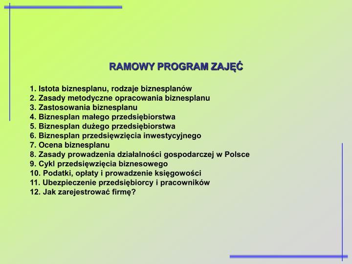 RAMOWY PROGRAM ZAJĘĆ