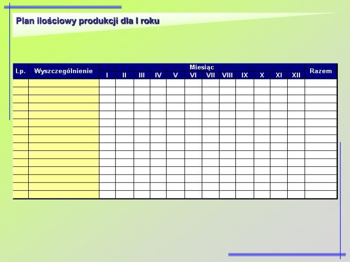 Plan ilościowy produkcji dla I roku