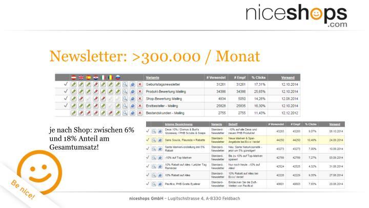 Newsletter: >300.000 / Monat