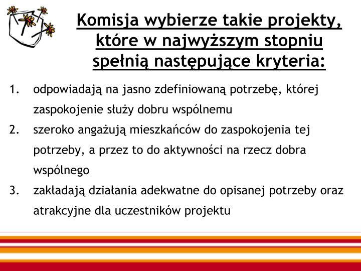 Komisja wybierze takie projekty, które w najwyższym stopniu spełnią następujące kryteria:
