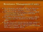 resistance management cont