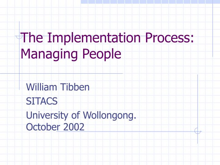 the implementation process managing people n.