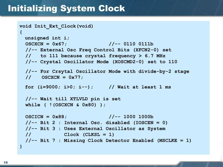 Initializing System Clock