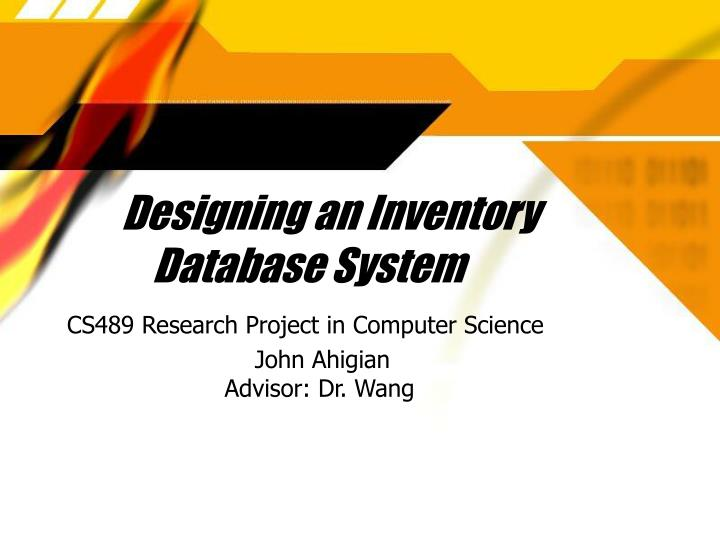 Designing an inventory database system