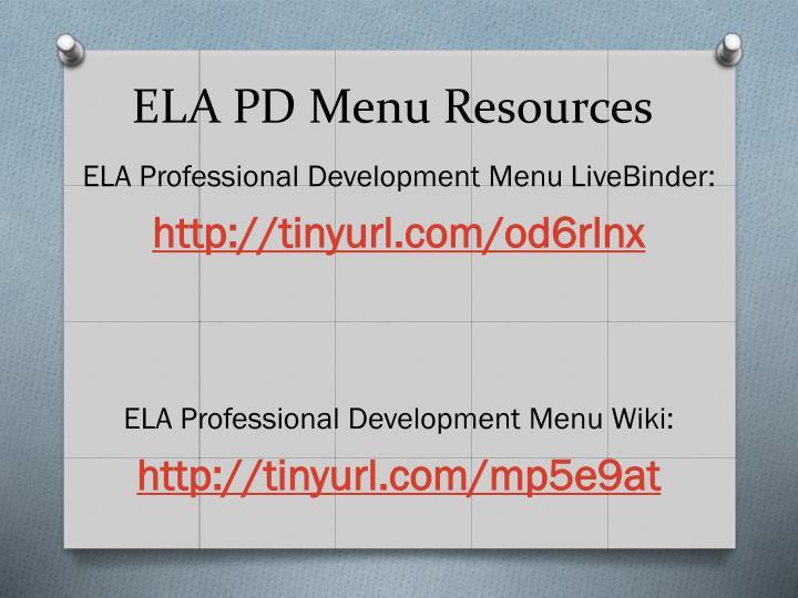ELA PD Menu Resources