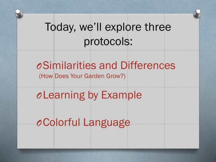 Today, we'll explore three protocols:
