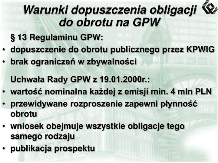 Warunki dopuszczenia obligacji do obrotu na GPW