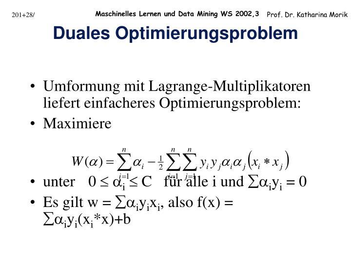 Umformung mit Lagrange-Multiplikatoren liefert einfacheres Optimierungsproblem: