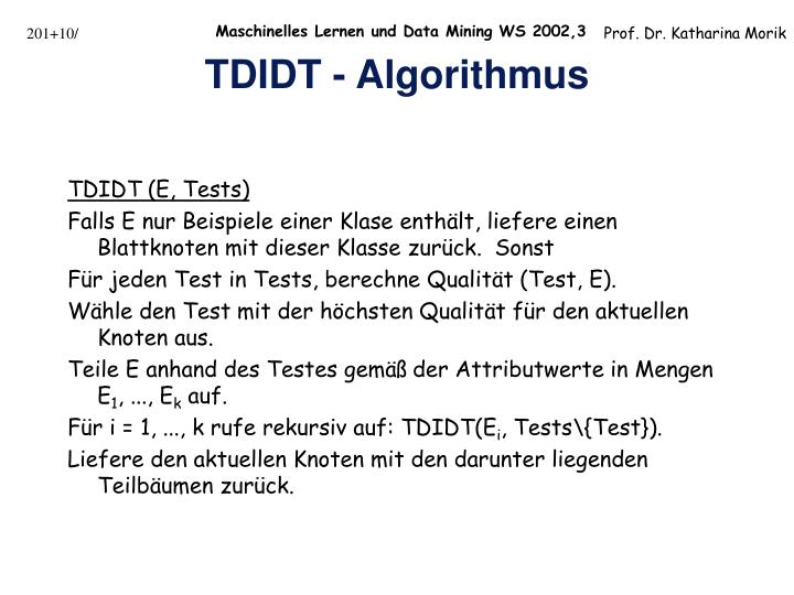 TDIDT (E, Tests)