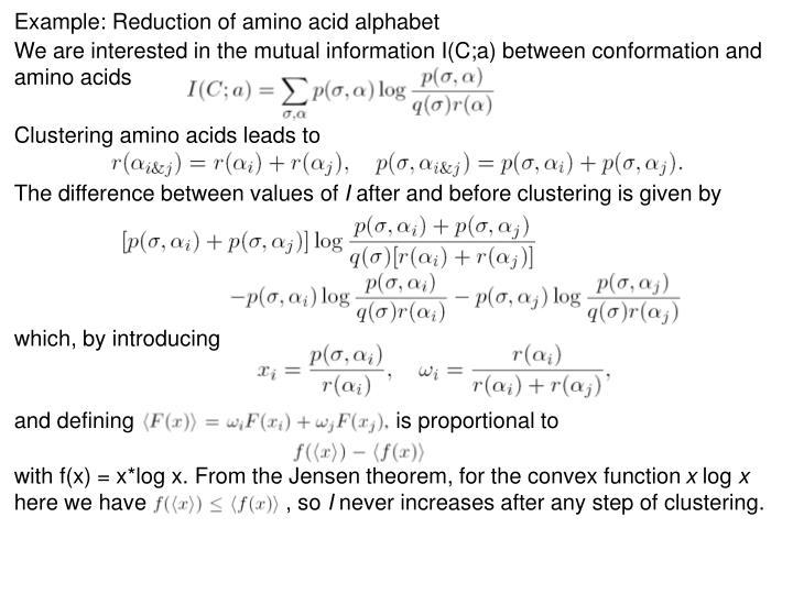 Example: Reduction of amino acid alphabet