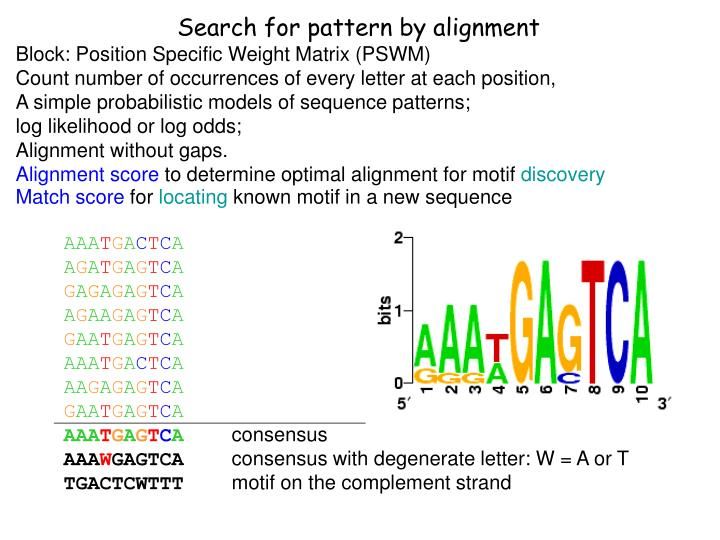 Search for pattern by alignment