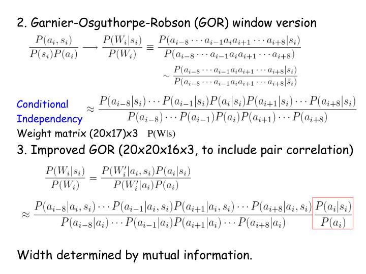 2. Garnier-Osguthorpe-Robson (GOR) window version
