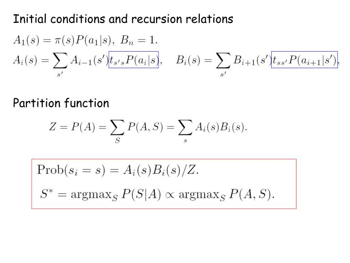 Initial conditions and recursion relations