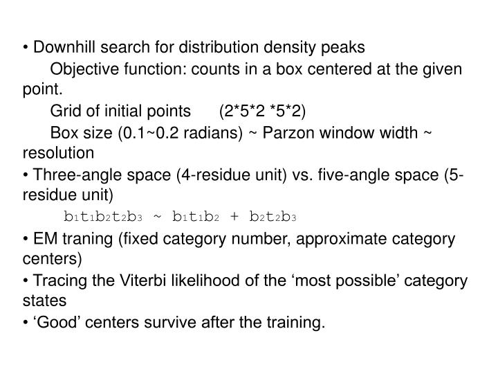 Downhill search for distribution density peaks