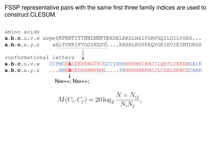 FSSP representative pairs with the same first three family indices are used to construct CLESUM.