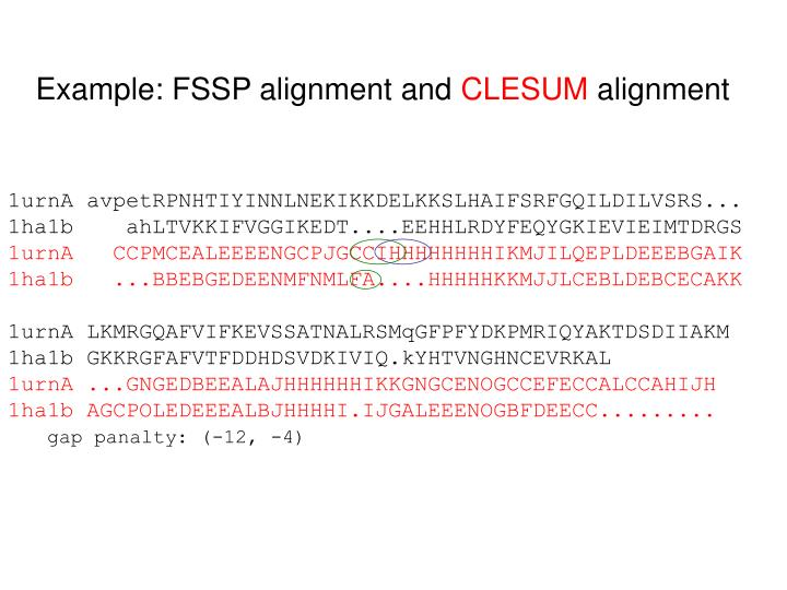 Example: FSSP alignment and