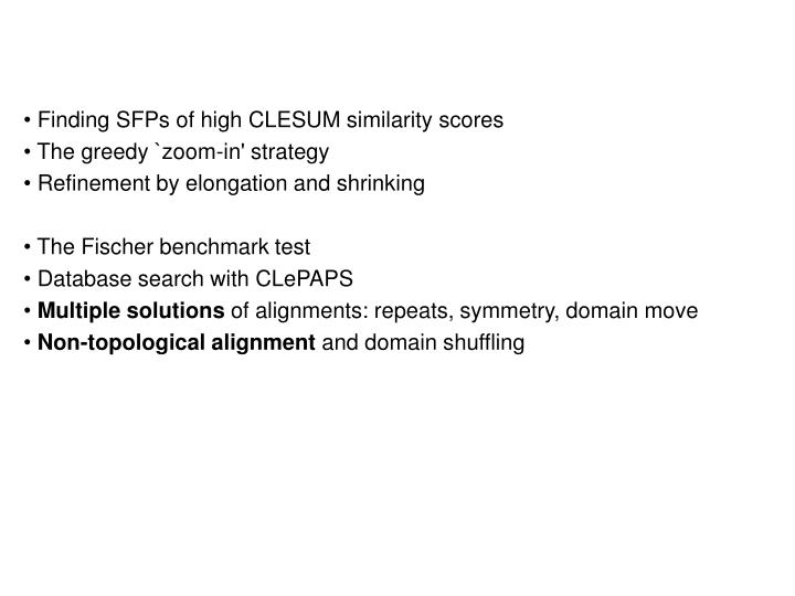 Finding SFPs of high CLESUM similarity scores