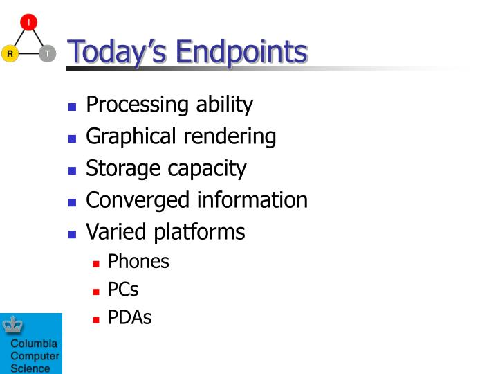 Today s endpoints