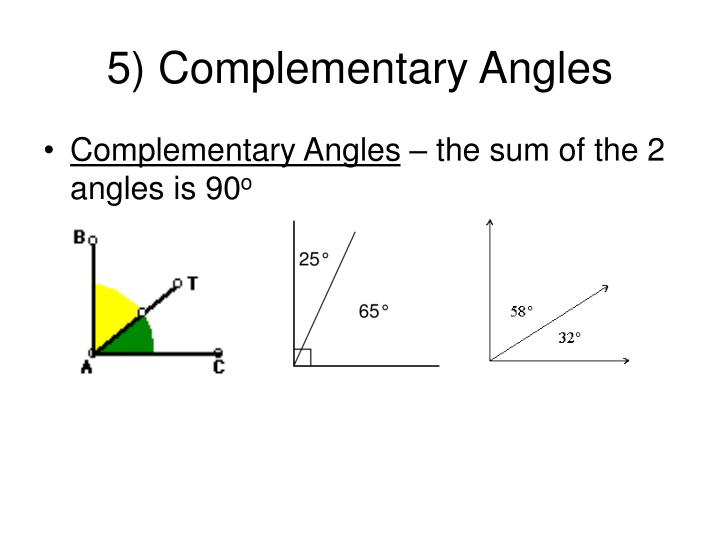 5) Complementary Angles