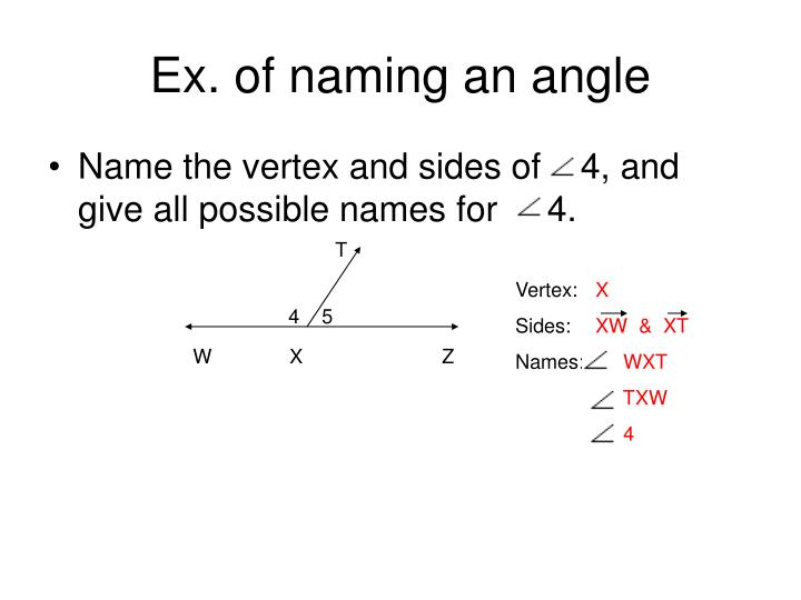 Ex. of naming an angle