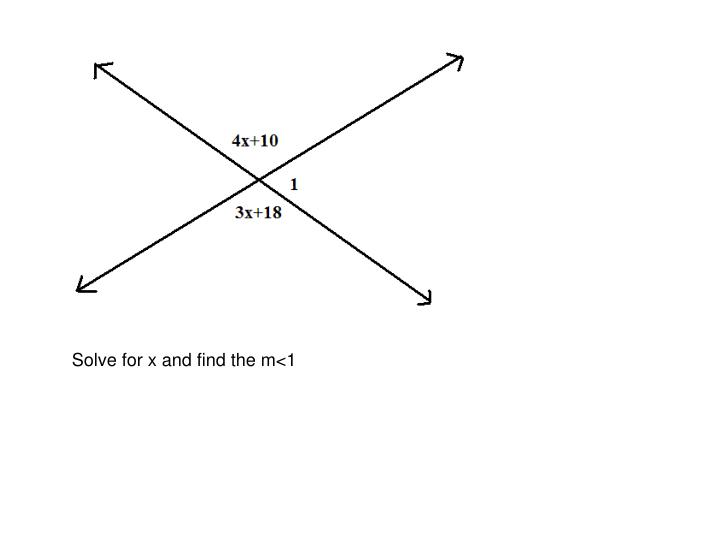 Solve for x and find the m<1