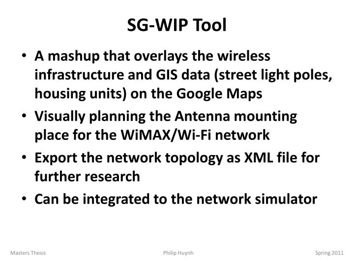 SG-WIP Tool