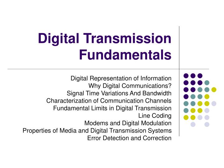 digital modulation in data communicaion Fundamental to all wireless communications is modulation, the process of impressing the data to be transmitted on the radio carrier most wireless transmissions today are digital, and with the.