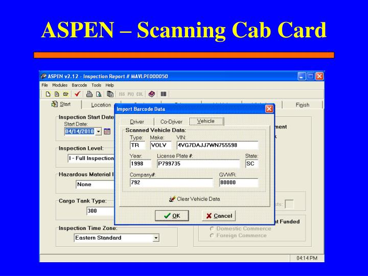 ASPEN – Scanning Cab Card