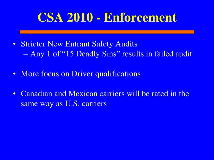 CSA 2010 - Enforcement