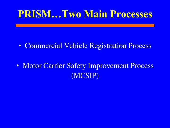 PRISM…Two Main Processes