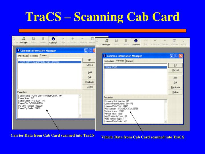 TraCS – Scanning Cab Card
