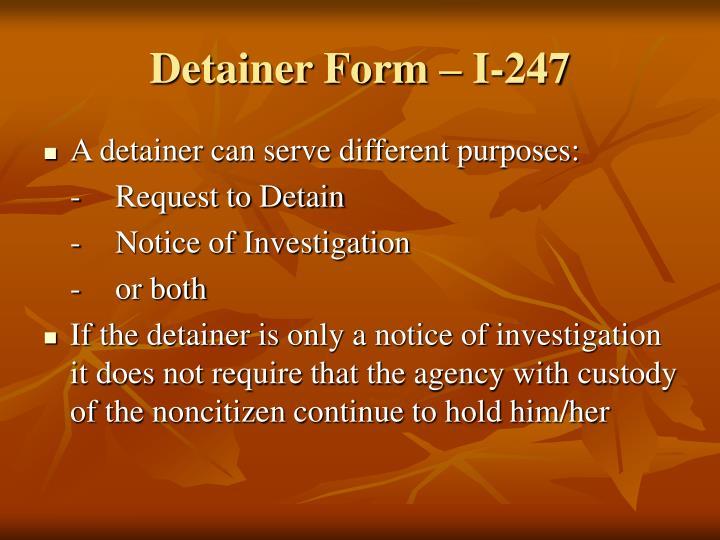 Detainer Form – I-247