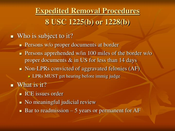 Expedited Removal Procedures