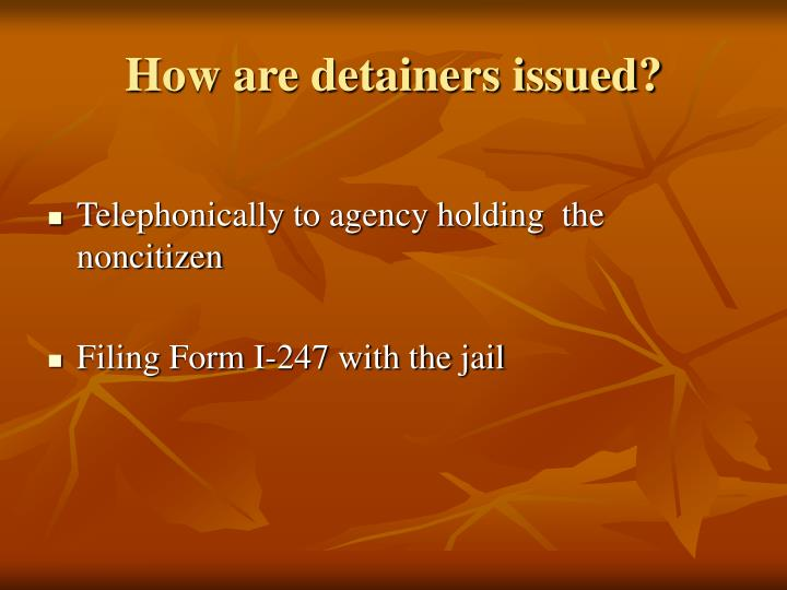 How are detainers issued?