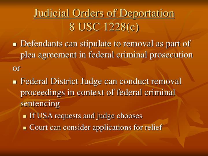 Judicial Orders of Deportation