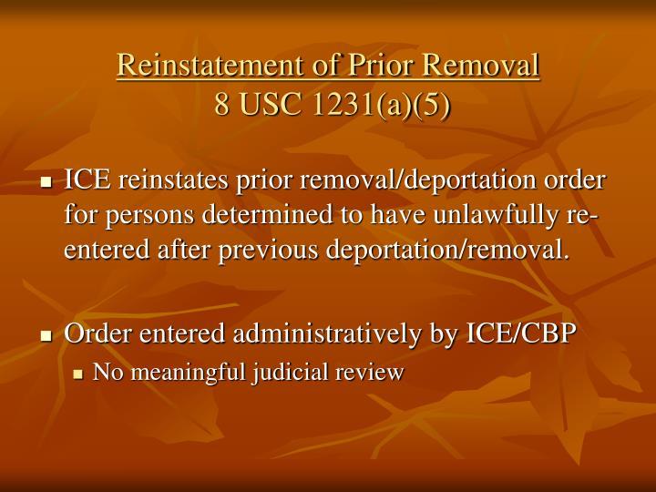 Reinstatement of Prior Removal