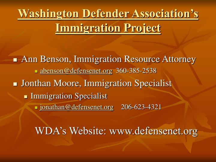 Washington defender association s immigration project