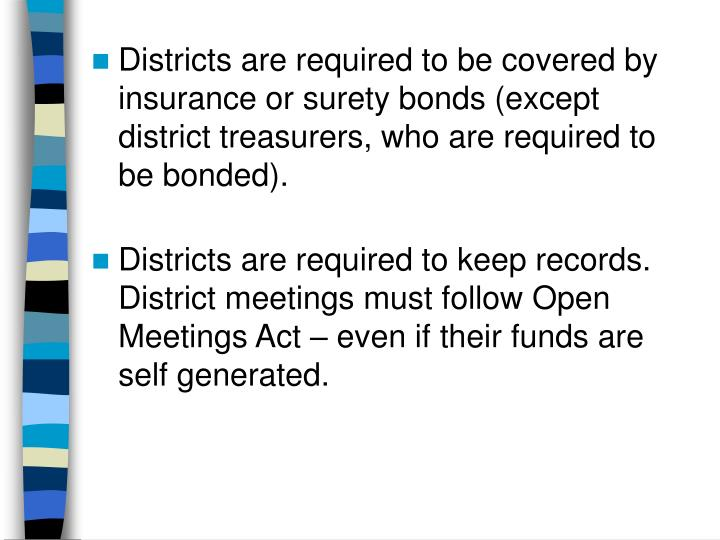 Districts are required to be covered by insurance or surety bonds (except district treasurers, who are required to be bonded).