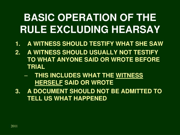 Basic operation of the rule excluding hearsay