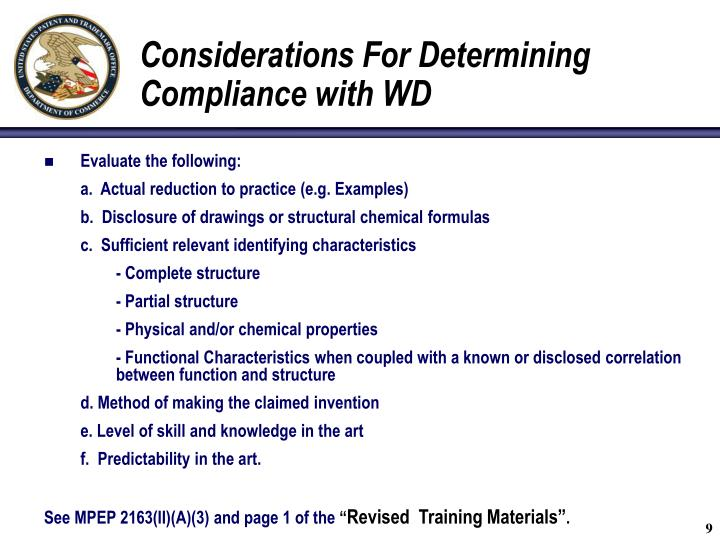 Considerations For Determining Compliance with WD
