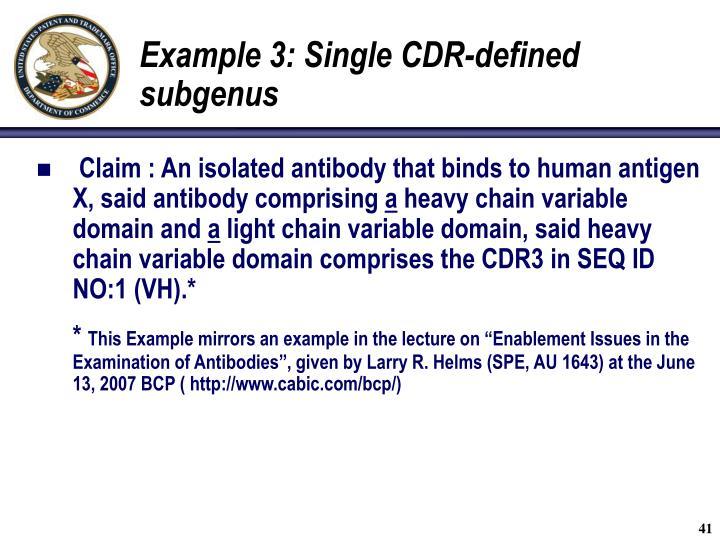Example 3: Single CDR-defined subgenus