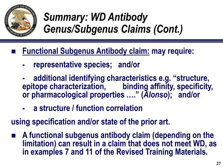 Summary: WD Antibody Genus/Subgenus Claims (Cont.)