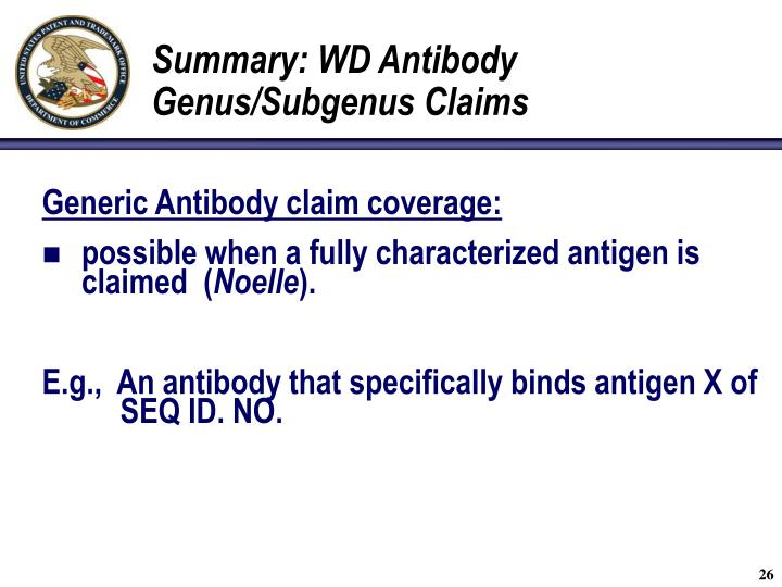 Summary: WD Antibody Genus/Subgenus Claims