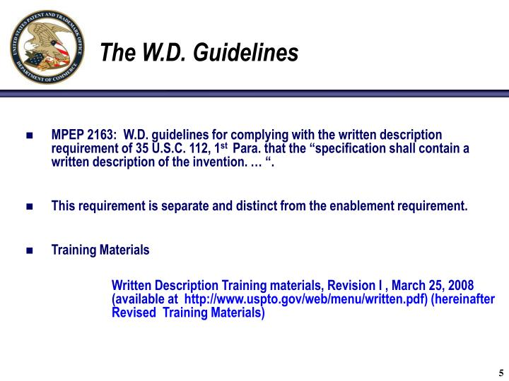 The W.D. Guidelines