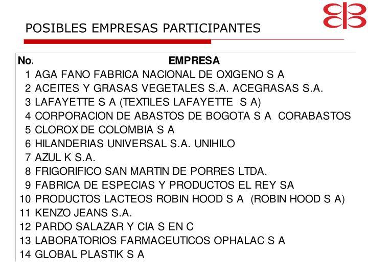 POSIBLES EMPRESAS PARTICIPANTES