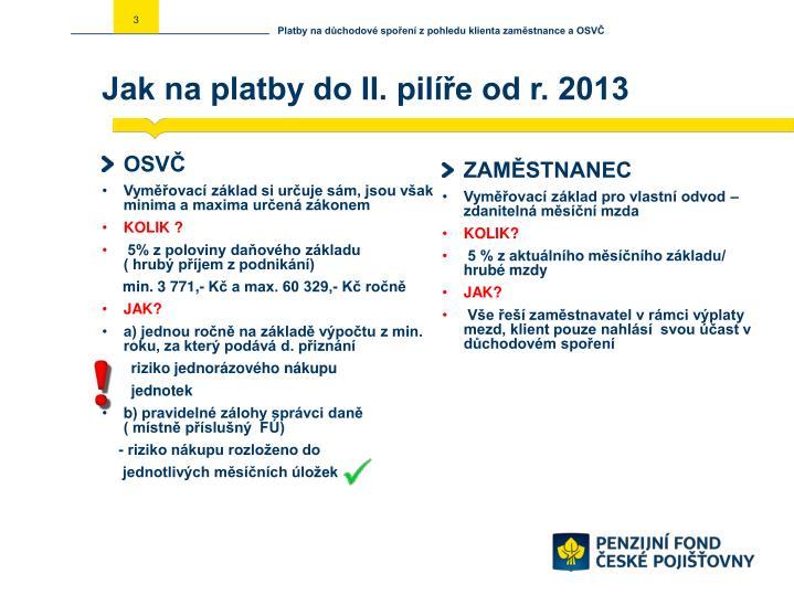 Jak na platby do ii pil e od r 2013