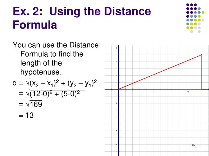 You can use the Distance Formula to find the length of the hypotenuse.
